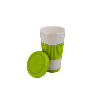 Obrázek Porcelánový hrnek se silikonovým víčkem