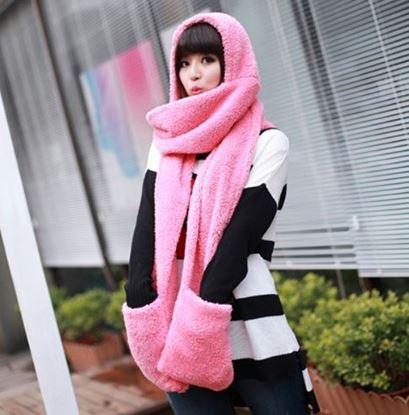 Obrázek Šála s kapucí a rukavicemi 3v1 - růžová