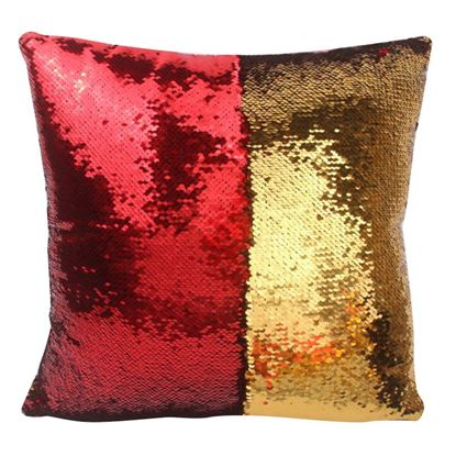 Obrázek Flitrový povlak na polštář - červenozlatý