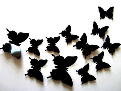 Obrázek z 3D motýlci na zeď - černá