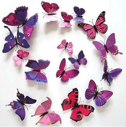 Obrázek z 3D motýlci na zeď - fialová
