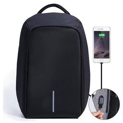 Obrázek Bezpečnostní batoh s USB nabíječkou - černý