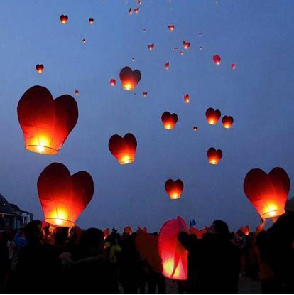Obrázek Lampiony štěstí 10 kusů - tvar srdce červené