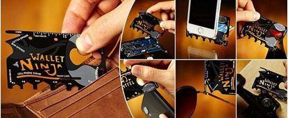Obrázek Ocelová multifunkční karta Wallet Ninja 18v1