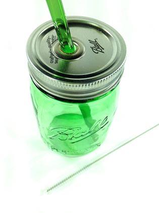 Obrázek z Zahnuté skleněné brčko - zelené