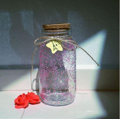 Obrázek z Svítící skleněná dóza - růžová/žlutá 2 ks