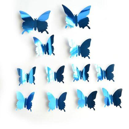 Obrázek z Zrcadlový motýl 12 ks - modrý