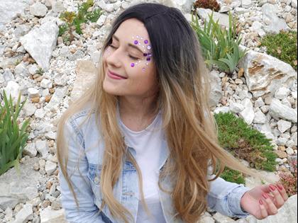 Obrázek z Nalepovací kamínky na obličej - fialové