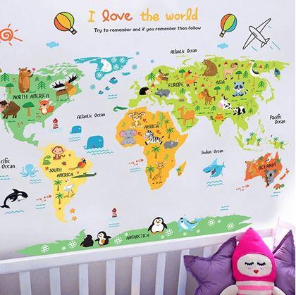 mapa světa na zeď