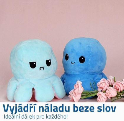 Obrázek z Oboustranný plyšák - chobotnice modrá/tyrkysová